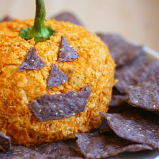 Nacho Jack-o'-Lantern Cheese Ball