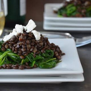 Lentils with Spinach and Goat Cheese