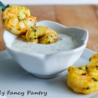 Easy Indian Spiced Shrimp with Garlic and Cilantro Yogurt Sauce.