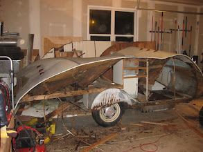 Photo: Not pretty, but it's down, the roof will be taken to the scrap yard, as I'm going to put a single piece of trailer aluminum from the front hitch to the bumper,  no seams = no leaks!