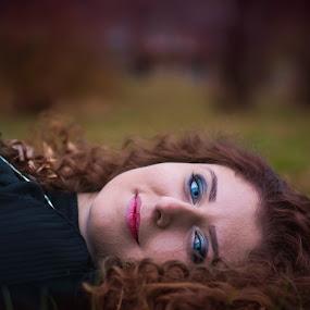 Blue eyes  by Tiberiu Stefan  Simion - People Portraits of Women ( face, red, girl, blue, green, beautiful, beautiful eyes, here, autnum, yellow )