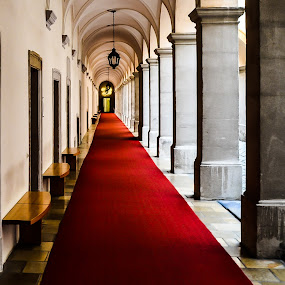 Red Carpet Corridor by Lori Louderback - Buildings & Architecture Other Interior
