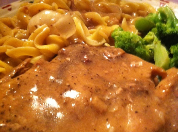 Center Cut Pork Chops And Noodles With Mushroom Gravy And Broccoli In Garlic Butter Recipe