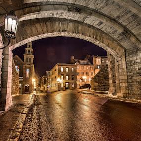 street in Quebec City by Jean Verret - City,  Street & Park  Street Scenes ( street scenes  city )