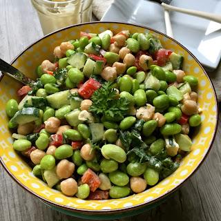 Edamame Chickpea Feta Salad with Lemon Tahini Dressing.