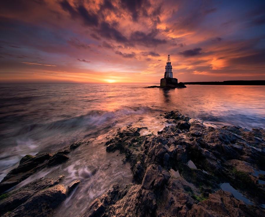 Sunrise at Lighthouse by Mihail Marzyanov - Landscapes Sunsets & Sunrises