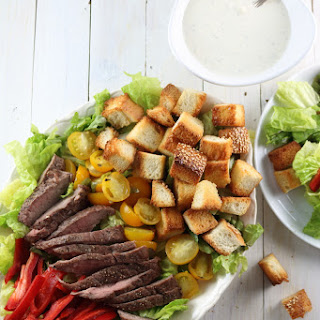Steak Panzanella Salad with Blue Cheese Dressing