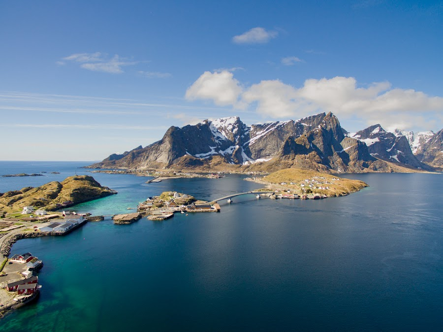Connected by Birgit Dietrich - Landscapes Waterscapes ( mountains, drone, sea, arctic, fromabove, lofoten, coast, norway )