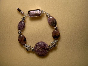 Photo: lepidolite bracelet with dichroic glass toggle