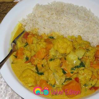 Cauliflower Sweet Potato and Coconut Curry.