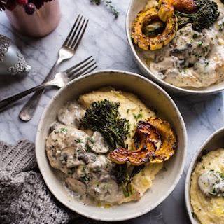 45-Minute Truffled Mushroom Chicken with Polenta + Roasted Broccolini..