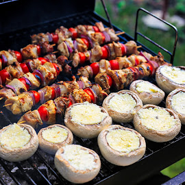 One Tasty Grill by Madalin V. - Food & Drink Cooking & Baking ( mushrooms, garlic, barbecue, barbecue skewers, grilled, grill )