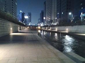 Photo: Before going to bed. We decided to take a walk along the path of Cheonggyecheon Stream.