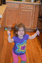 Photo: And even the youngest one caught on to the excitement and chose to do a little happy dance for us with her toothbrush!