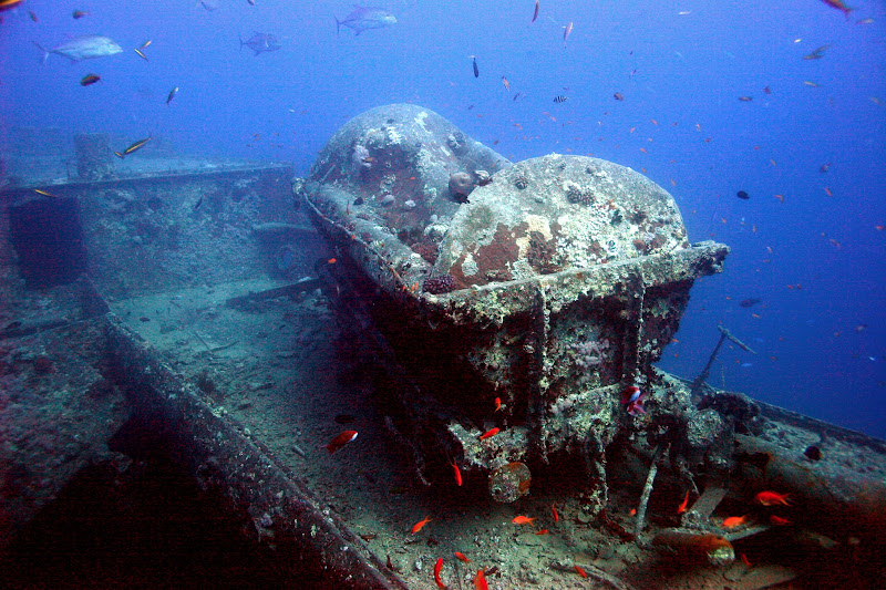 Photo: One of the train carriages being transported on the SS Thistlegorm
