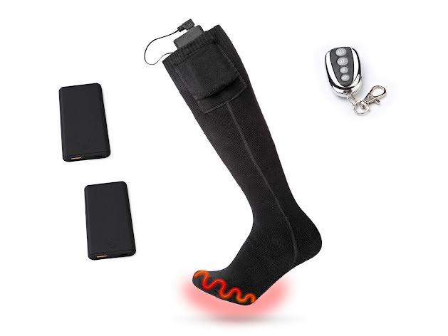 Värmestrumpor, fjärrkontroll, laddare & 2x batterier USB-C