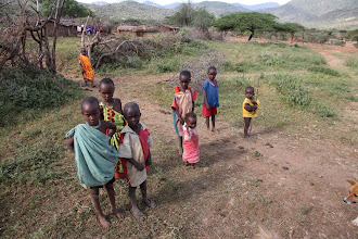 Photo: Samburu childen near their huts.