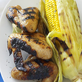 Sticky Chicken Wings with Barbecued Corn