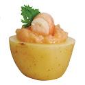 Batatinha calabresa com creme de camarão e salsa crespa