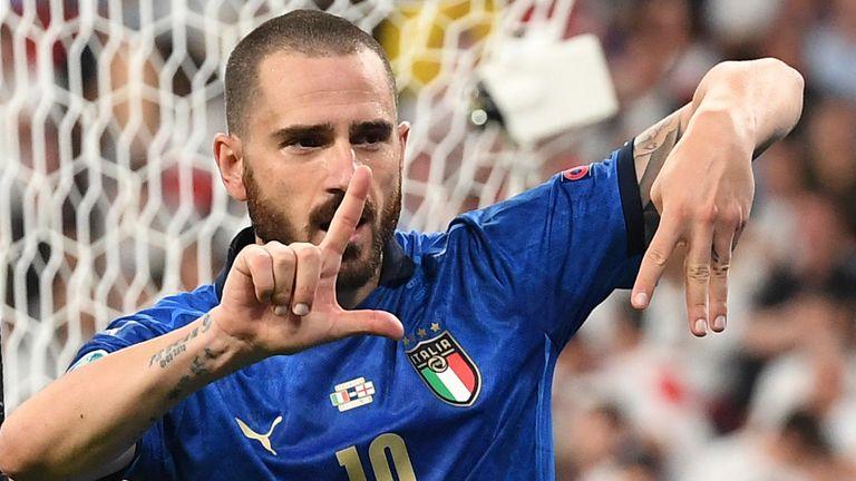 Leonardo Bonucci celebrates his goal against England