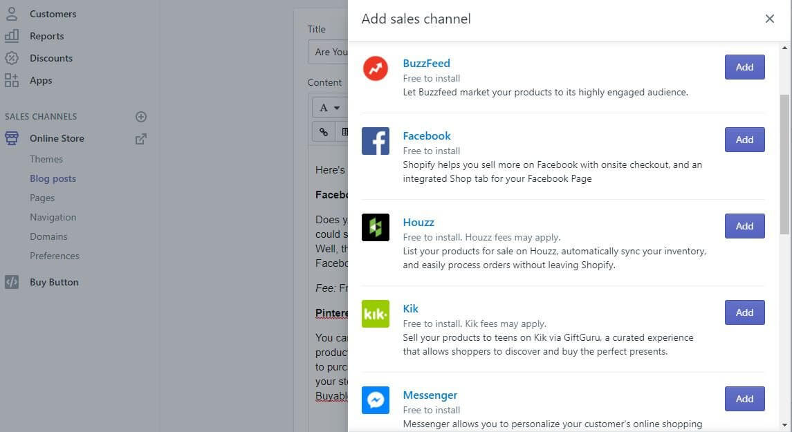 sales channel Shopify