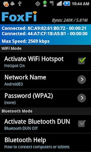 FoxFi (WiFi Tether w/o Root) Screenshot