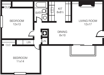 Go to Two Bed, One Bath B Floorplan page.