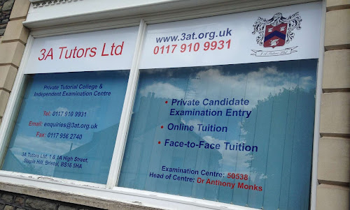 Examination Centre Window at the entrance to 3A Tutors ltd