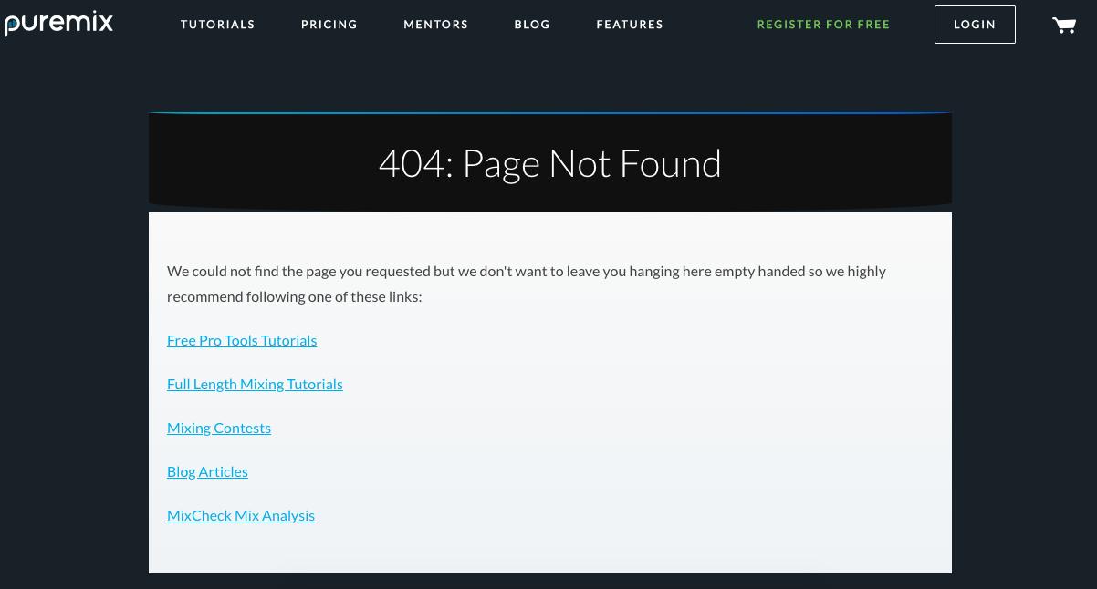 Ejemplo de error 404: puremix