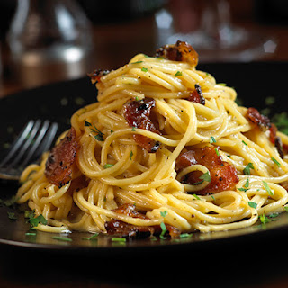 Peppered Bacon Spaghetti Carbonara.