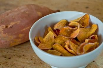 Healthy Homemade BBQ Sweet Potato Chips