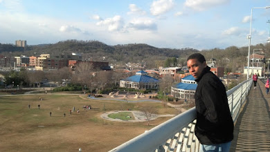 Photo: Miles on the pedestrian bridge w/ Cooper Park in the background