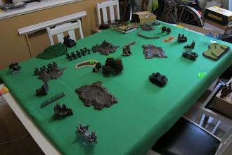 Photo: Dark Angels v Dark Eldar, deployment, opposite view