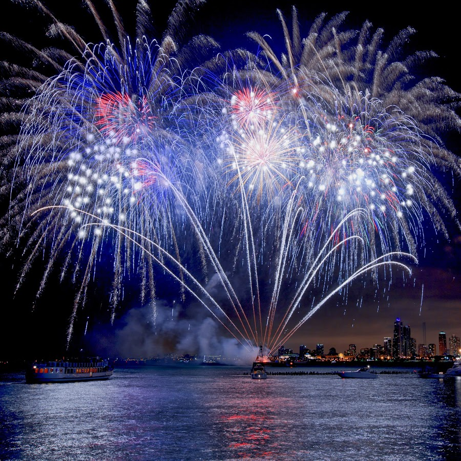 The 4TH Fireworks  by John CHIMON - City,  Street & Park  Vistas ( reflection, illinois, reflections, show, smoky, usa, fest, city, lights, exploding, july, chicago, 4th, light, blow, downtown, explosions, il, boat, smoke, blowing, navy pier, lake michigan, fireworks, celebration )