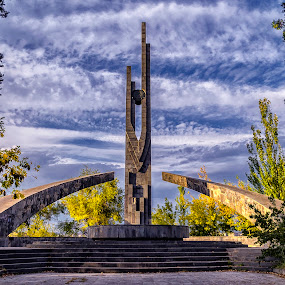 Arabkir Park by Amir Kh - Buildings & Architecture Statues & Monuments ( sky, green, beauty, yerevan, tree, armenia, statue, clouds, trees, steps, parks, beautiful, arch, architectural, park, architecture )