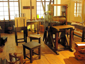 Photo: Reproduction of a playing-card printing shop (18th century?)