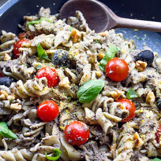 Basil Black Olive Tapenade Pasta with Cherry Tomatoes