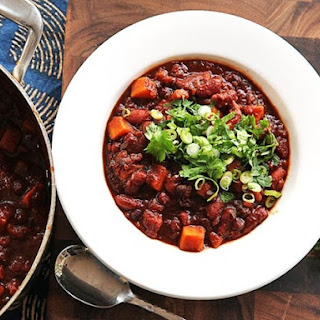 Vegan Sweet Potato and Two Bean Chili With Hominy.