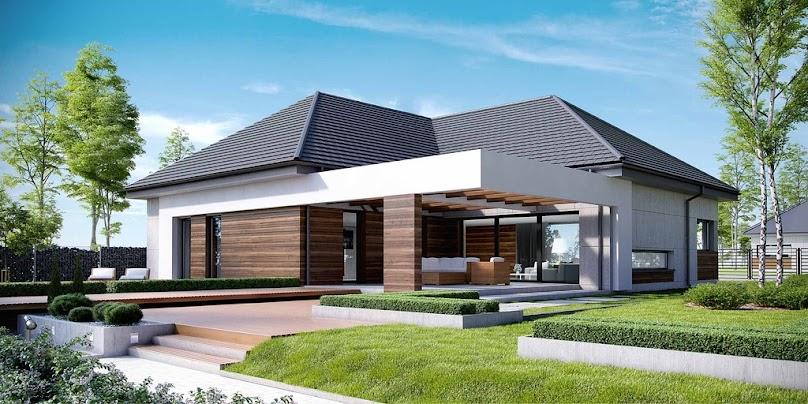 Projekt domu z nowoczesną, drewnianą elewacją.