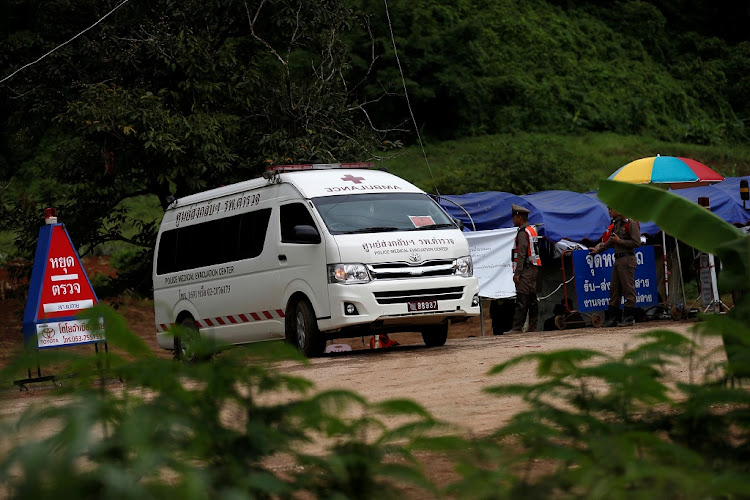 An ambulance seen near the Tham Luang cave complex, where members of a soccer team trapped are in a flooded cave, in the northern province of Chiang Rai, Thailand, July 9 2018. Picture: REUTERS/ SOE ZEYA TUN