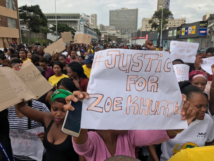 Mangosuthu University of Technikon students marched from a student residence to the Durban Magistrate's Court on Thursday.