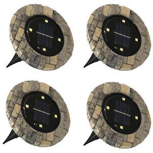 Set 4 lampi solare cu aspect de piatra