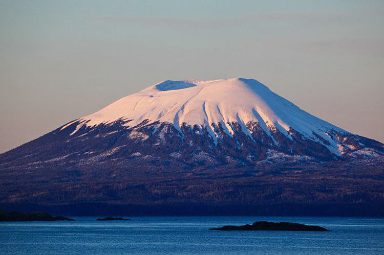 Mount Edgecumbe is a dormant volcano that rises 3,201 feet over Sitka. It last erupted about 2,400 years ago.