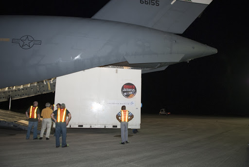 The MAVEN spacecraft is offloaded from a C-17 aircraft at NASA's Kennedy Space Center in Florida.