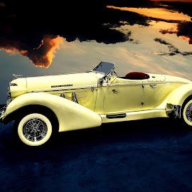 Auburn by JEFFREY LORBER - Transportation Automobiles ( american cars, auburn, vintage cars, lorberphoto, cars, rust 'n chrome, yellow cars, jeffrey lorber )