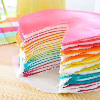 Rainbow Crepe Cake.