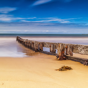 Peaceful view by Nicole Rix - Landscapes Beaches ( water, clouds, sand, old, sea, ocean, beach, seascape, fence, sky, outdoor, seaweed, filters )
