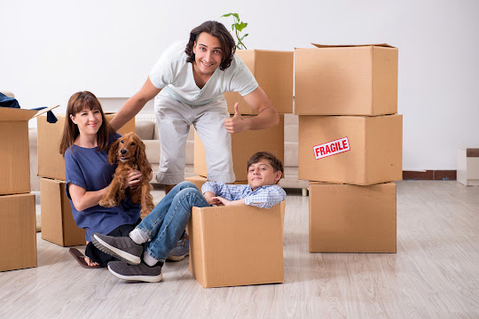 Family moving in with boxes