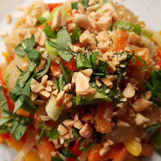Vegetable Pad Thai with Thai Basil and Peanuts Recipe