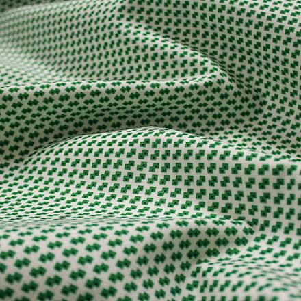 Mönstrad Bomullspoplin - grön/vit